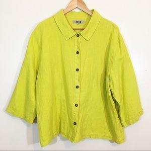 Flax Lime Green Linen Button Down Shirt